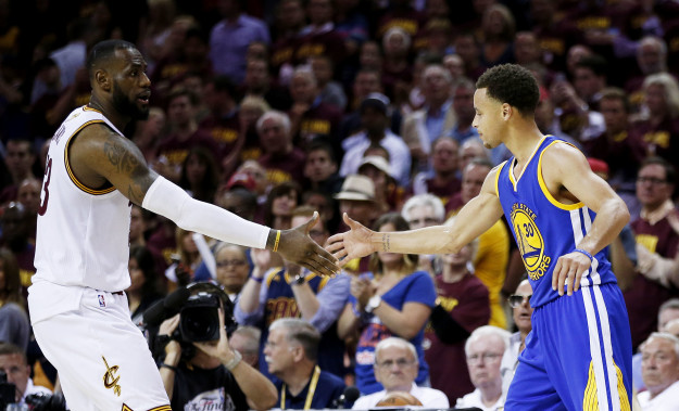 The Cavaliers' LeBron James (left) and the Warriors' Steph Curry during the 2015 NBA Finals.