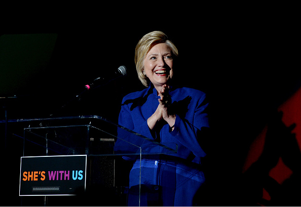 "Hillary Clinton on stage during the ""Hillary Clinton: She's With Us"" concert yesterday in Los Angeles."