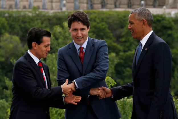 Peña Nieto's (left) hand was just left hanging, Trudeau (middle) literally had no idea what he was doing, and Obama looked both confused and as if he were counting down his days left in office.