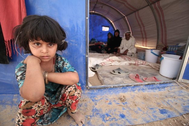 Humanitarian workers worry about the health conditions at the makeshift camps where displaced Iraqis are living.