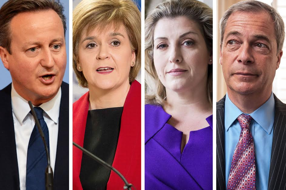 Here's the full line-up for today's Facebook Live event (from left): UK Prime Minister David Cameron, Scottish First Minister Nicola Sturgeon, Armed Forces Minister Penny Mordaunt, and UKIP leader Nigel Farage.