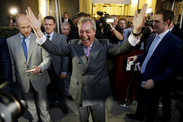 Nigel Farage celebrates the Leave campaign's victory in yesterday's referendum.