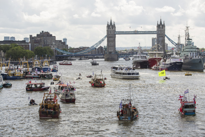 British politician Nigel Farage is leading a flotilla up the River Thames in London today, to call for the UK to leave the European Union.