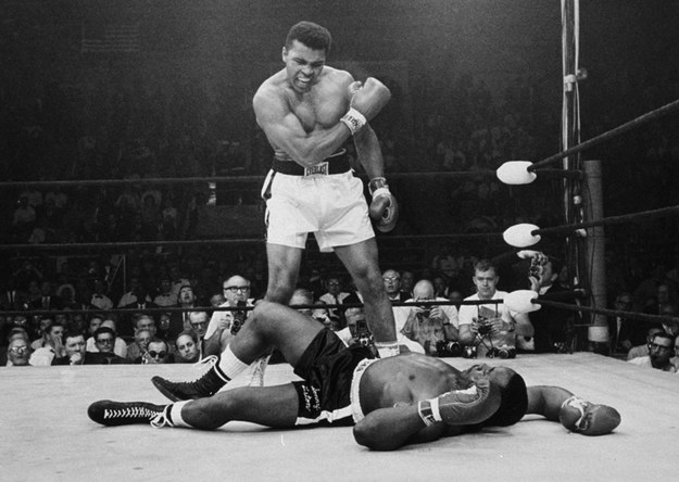 Muhammad Ali stands over fallen challenger Sonny Liston in Maine, 1965.