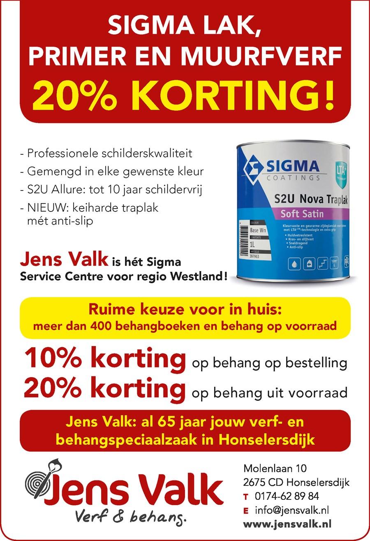 Sigma 20 procent korting Jen Valk Honselersdijk