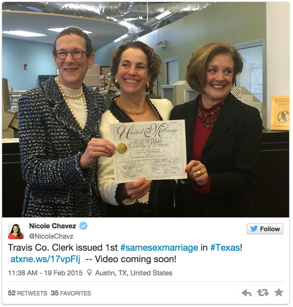 Travis County Clerk issued the first same-sex marriage license in Texas.