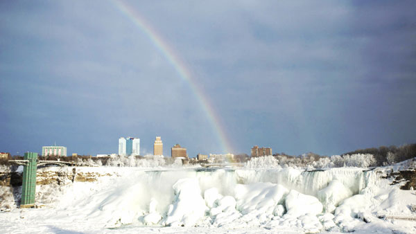 Just in case you still didn't think a frozen Niagara Falls was glorious enough, a rainbow showed up. Lindsay DeDario / Reuters